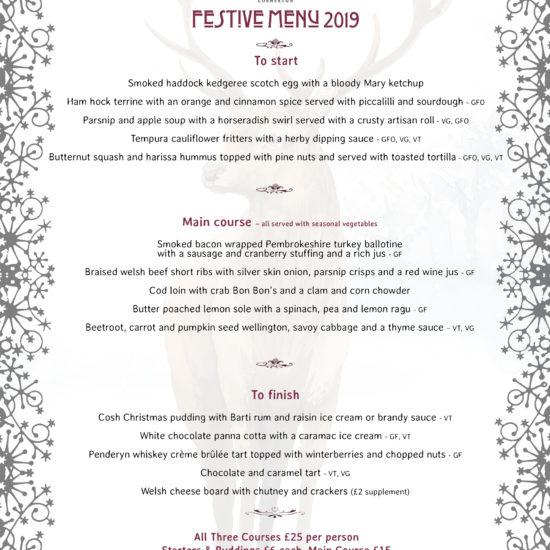 The Brewery Inn Festive Menu 2019